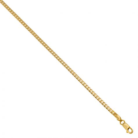 "Solid 9ct Yellow Gold Italian Franco/Foxtail Chain - 3mm - 22"" - 30"""