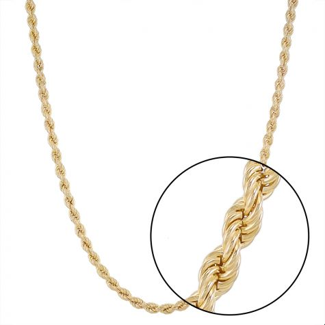 "9ct Yellow Gold Italian Made Classic Rope Chain - 22 ""  - 6mm"