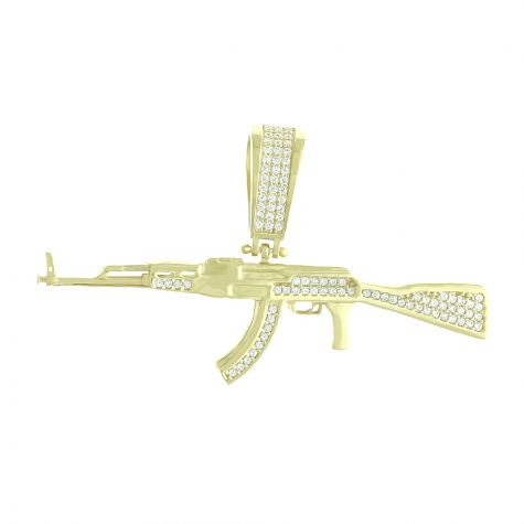 Solid 9ct Yellow Gold Gemset Iced-Out AK-47 Machine Gun Pendant