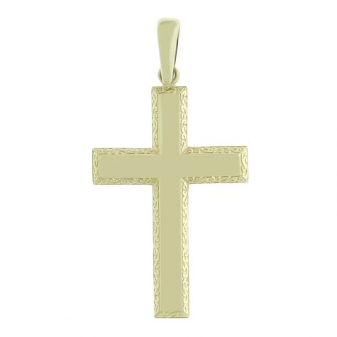 9ct Yellow Gold Extra Large Bevelled Edge Cross Pendant - 86mm