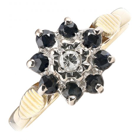 Vintage 18ct Yellow Gold Diamond & Sapphire Dress Cluster Ring