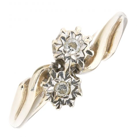 Vintage 9ct Yellow Gold 0.05ct Diamond Crossover 2 Stone Ring