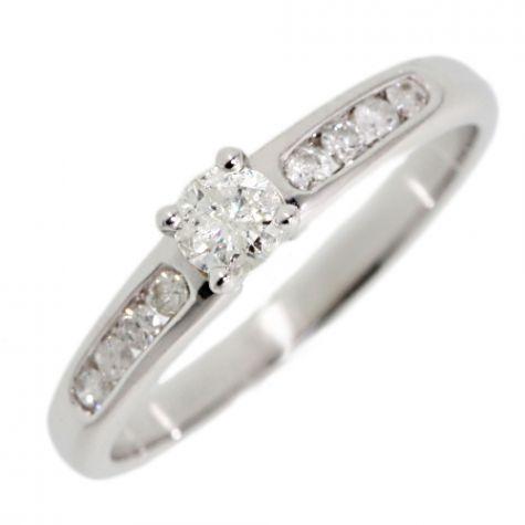 9ct White Gold .33ct Diamond Classic Shoulder Set Engagement Ring