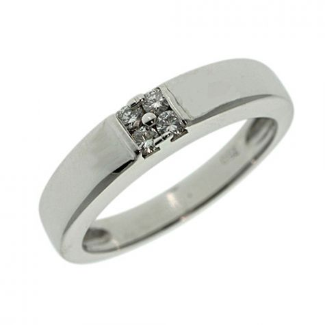 Pre-Owned 18ct White Gold 4mm 0.12ct Diamond Set Band Ring