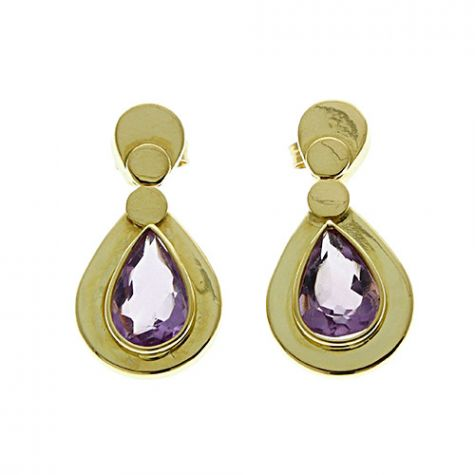 Pre-Owned 18ct Yellow Gold 4.4ct Amethyst Drop Stud Earrings
