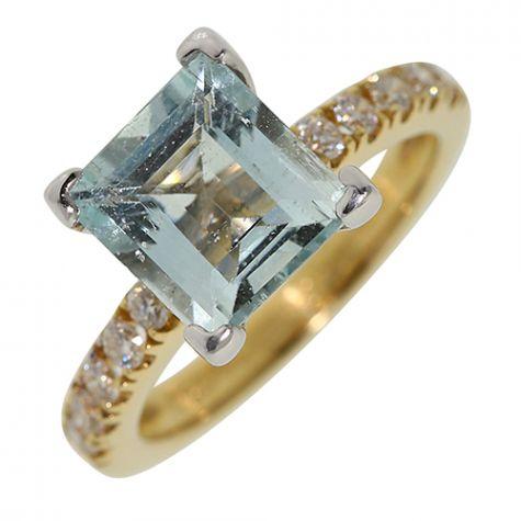 CERTIFIED 18ct Gold 2.15ct Aquamarine & 0.28ct Diamond Dress Ring