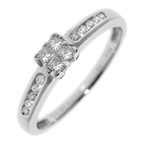 Pre-Owned 18ct White Gold 0.25ct Diamond Engagement Ring - Size O