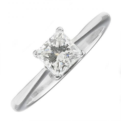 CERTIFIED 950 Platinum 0.70ct Diamond Solitaire Engagement Ring