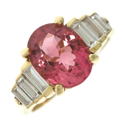 CERTIFIED 18ct Gold 2.79ct Pink Topaz & 0.88ct Diamond Dress Ring