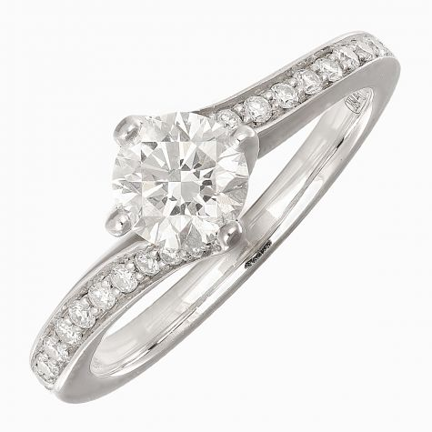Pre-Owned 18ct White Gold 0.744ct Diamond Engagement Ring-Size J