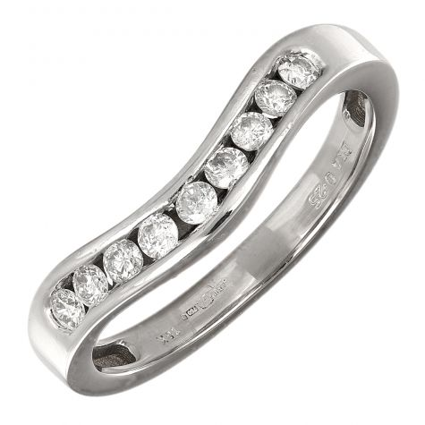 Pre-Owned 18ct White Gold 0.25ct Diamond Wishbone Ring - Size L