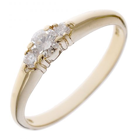 18ct Yellow Gold 0.20 ct Diamond Classic Trilogy Cluster Ring