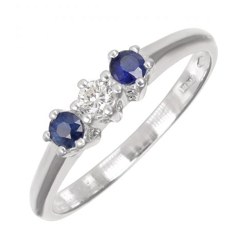 Pre-Owned 18ct Gold 0.08ct Diamond & 0.16ct Sapphire Trilogy Ring