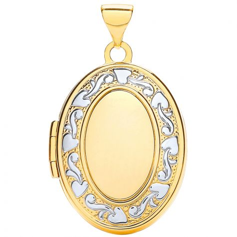 9ct Yellow & White Gold Pattern Oval Family Locket Pendant - 28mm