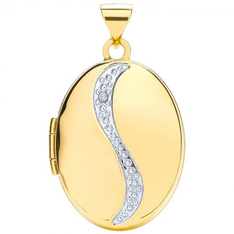 9ct Yellow & White Gold Diamond Set Oval Locket Pendant - 30mm