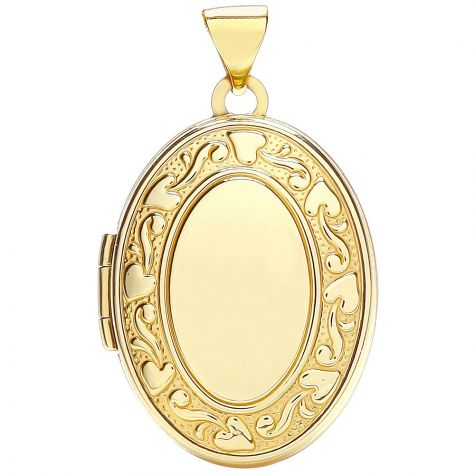9ct Yellow Gold Floral 2 Picture Floral Oval Locket Pendant -28mm