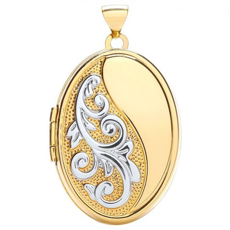 9ct Yellow & White Gold Floral Pattern Oval Locket Pendant - 36mm
