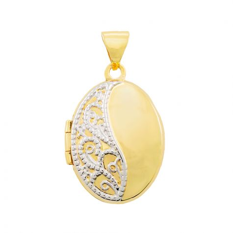 9ct Yellow & White Gold Floral Pattern Oval Locket Pendant - 24mm