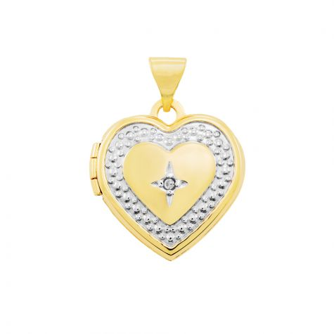 9ct Yellow & White Gold Diamond Set Heart Locket Pendant - 21mm