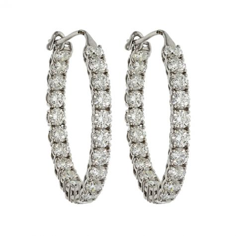 CERTIFIED - 18ct White Gold 5.55ct VS/G-H Diamond Hoop Earrings