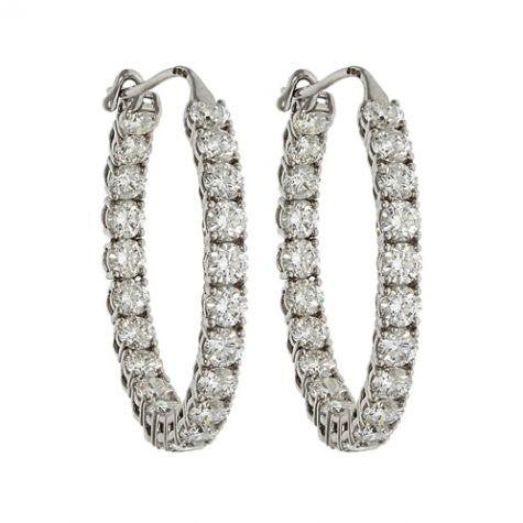 CERTIFIED - 18ct White Gold 5.55ct VS/G-H Diamond Hoop Earrings