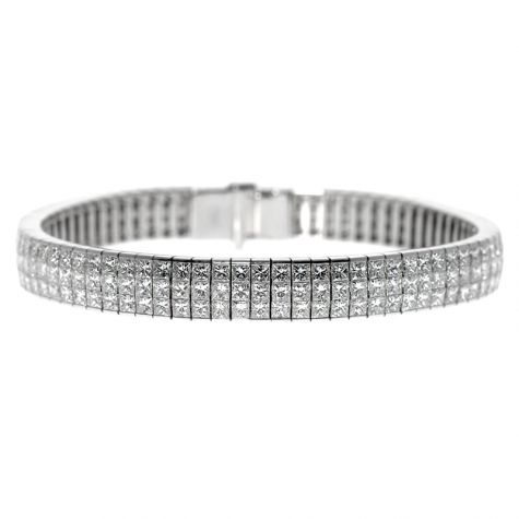 "CERTIFIED 18ct White Gold 15.20ct Diamond Tennis Bracelet 7"""
