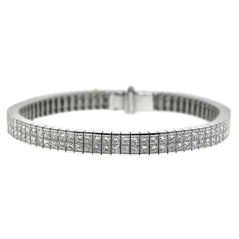 CERTIFIED 18ct White Gold 14.05ct Diamond Set Tennis Bracelet -7""