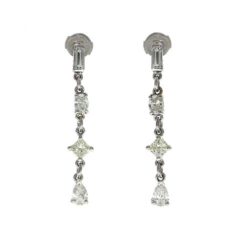 CERTIFIED - 18ct White Gold 2.35ct Diamond Drop Earrings