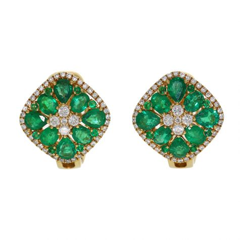 CERTIFIED - 18ct Gold 3.20ct Emerald & Diamond Stud Earrings