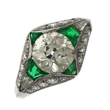 Art Deco 18ct Gold 1.76ct Diamond & Emerald Ring - Certified