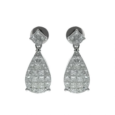 CERTIFIED 18ct White Gold 1.60ct VS/G-H Diamond Teardrop Earrings