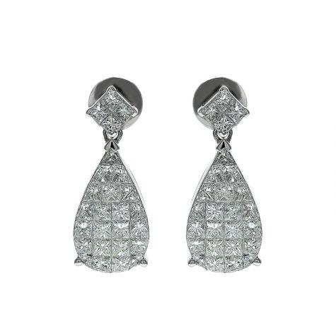 CERTIFIED 18ct White Gold 1.60ct VS/G-H Diamond Teardrop Earrings