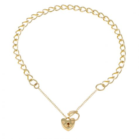 9ct Yellow gold Open Link Curb charm Bracelet - 4.25mm - Ladies