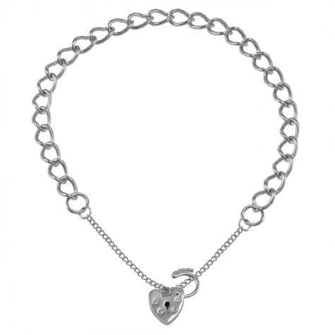 9ct White gold Open Link Curb charm Bracelet - 5.5mm - Ladies