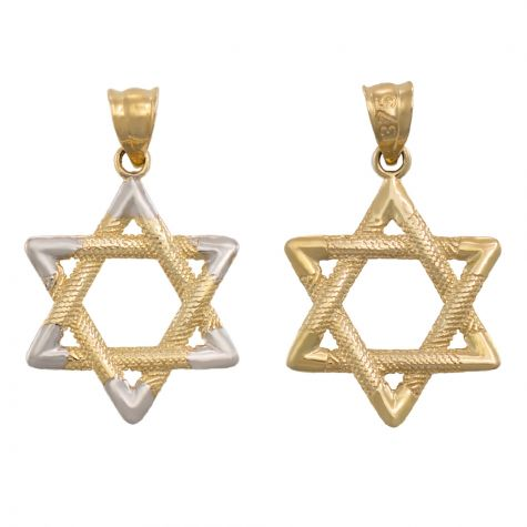 9ct Yellow & White Gold Star of David Pendant - 24mm
