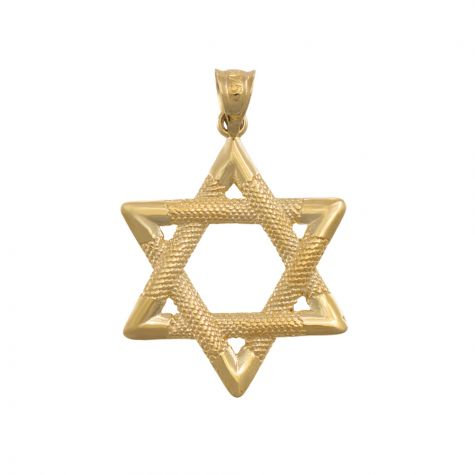9ct Yellow Gold Star of David Large Pendant - 29mm