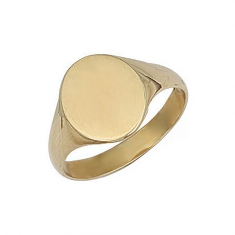 9ct Yellow Gold Solid Polished Oval Signet Ring - 13.5mm