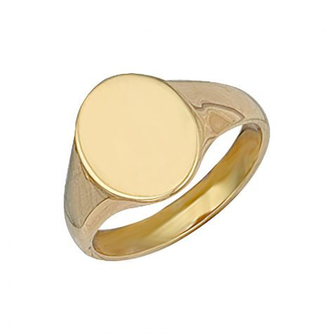 9ct Yellow Gold Solid Polished Oval Signet Ring - 14mm