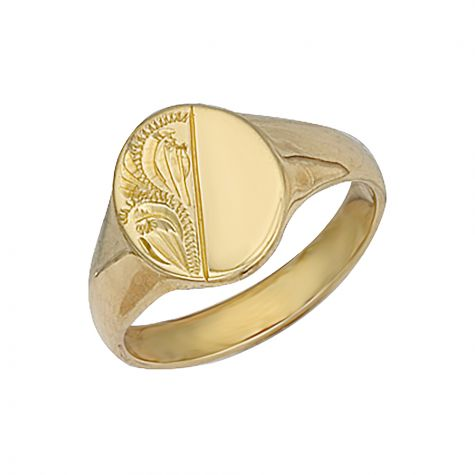 9ct Yellow Gold Solid Hand Engraved Oval Signet Ring - 13.5mm
