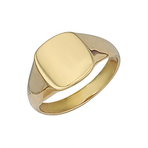 9ct Yellow Gold Solid Polished Square Signet Ring - 13mm