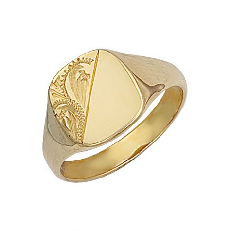9ct Yellow Gold Solid Hand Engraved Square Signet Ring - 13.5mm