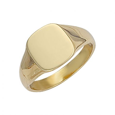 Heavywieght 9ct Gold Solid Polished Square Signet Ring - 13mm