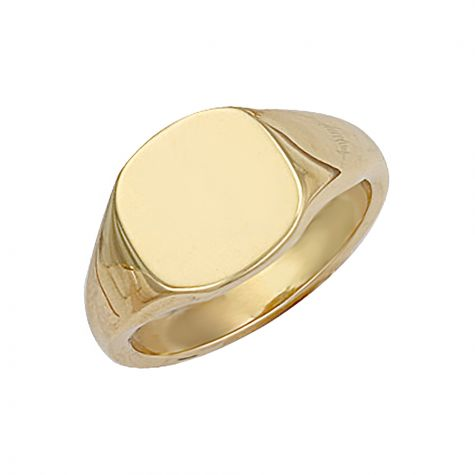 Heavyweight 9ct Gold Solid Polished Square Signet Ring - 12.5mm