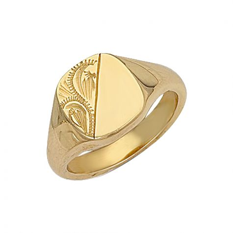 Heavyweight 9ct Gold Solid Hand Engraved Square Signet Ring - 13mm