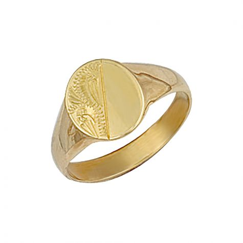 9ct Yellow Gold Solid Hand Engraved Oval Signet Ring - 11mm - Childs