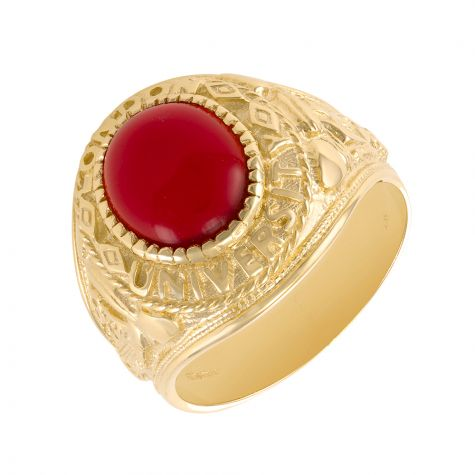 9ct Gold Solid Red Graduation / College / University Ring - Gents