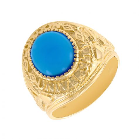 9ct Gold Blue Gem Graduation / College / University Ring - Gents