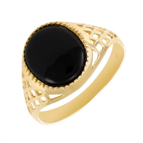 9ct Yellow Gold Lattice Design Oval Black Onyx Signet Ring -Gents