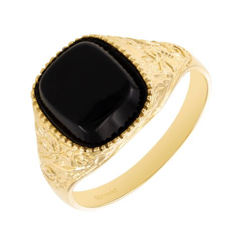 9ct Yellow Gold Ornate Design Black Onyx Signet Ring - Gents