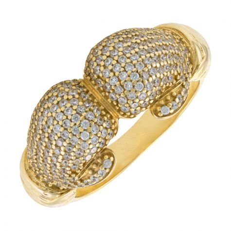 9ct Yellow Gold Gem-Set Double Boxing Glove Ring - Gents
